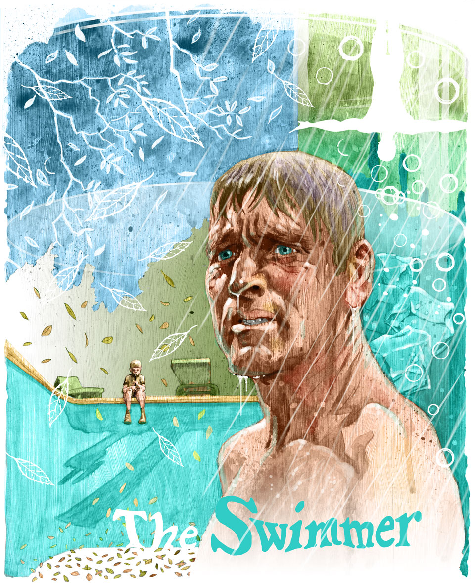 illustration art of burt lancaster in the movie The Swimmer boy on edge of pool ash tree