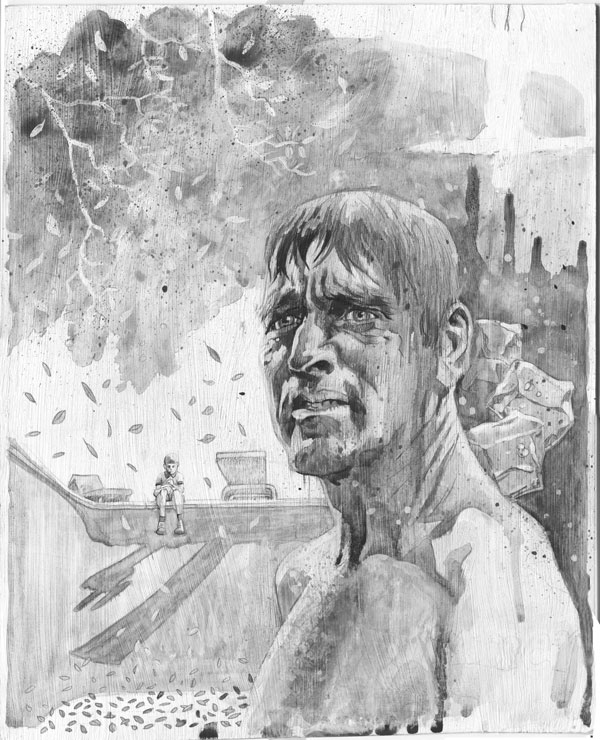 painting black and white of burt lancaster in the movie The Swimmer boy on edge of pool ash tree