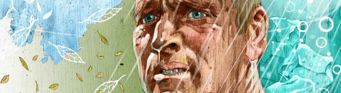 detail of illustration of burt lancaster in the movie The Swimmer ash tree