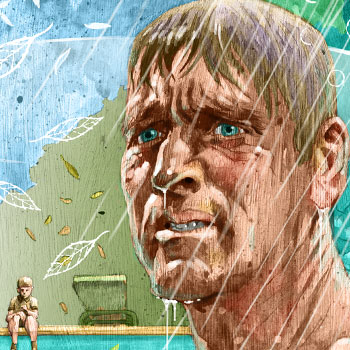 preview detail of illustration of burt lancaster in the movie The Swimmer