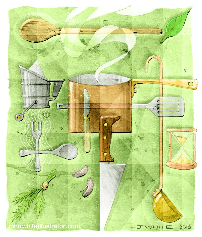 kitchen implements cooking colour illustration magazine editorial