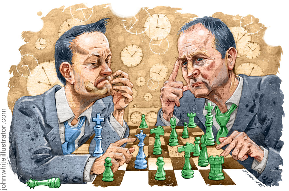 editorial illustration of leo varadkar fine gael playing chess with micheal martin fianna fail