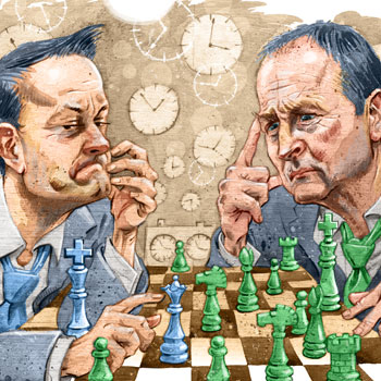 preview of illustration of leo varadkar and micheal martin playing chess politics
