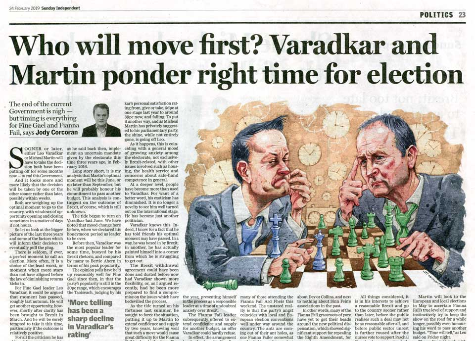 editorial illustration of leo varadkar fine gael playing chess with micheal martin fianna failsunday independent