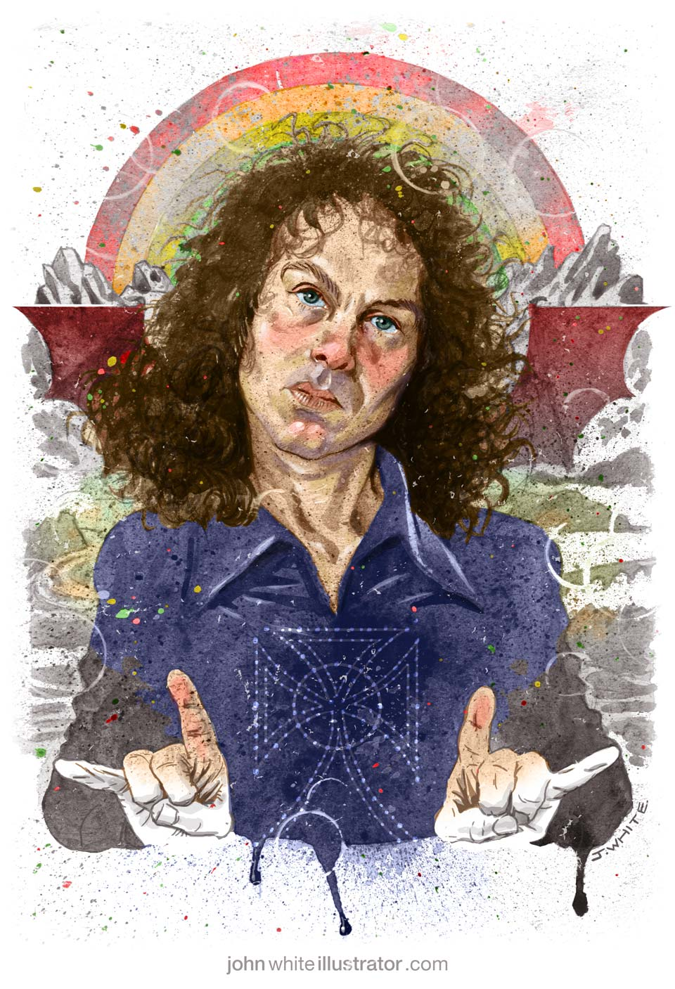 colour illustration art of ronnie james dio rock heavy metal singer