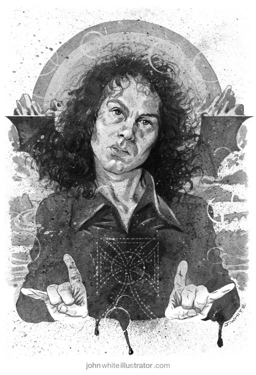 black and white illustration art of ronnie james dio rock heavy metal singer