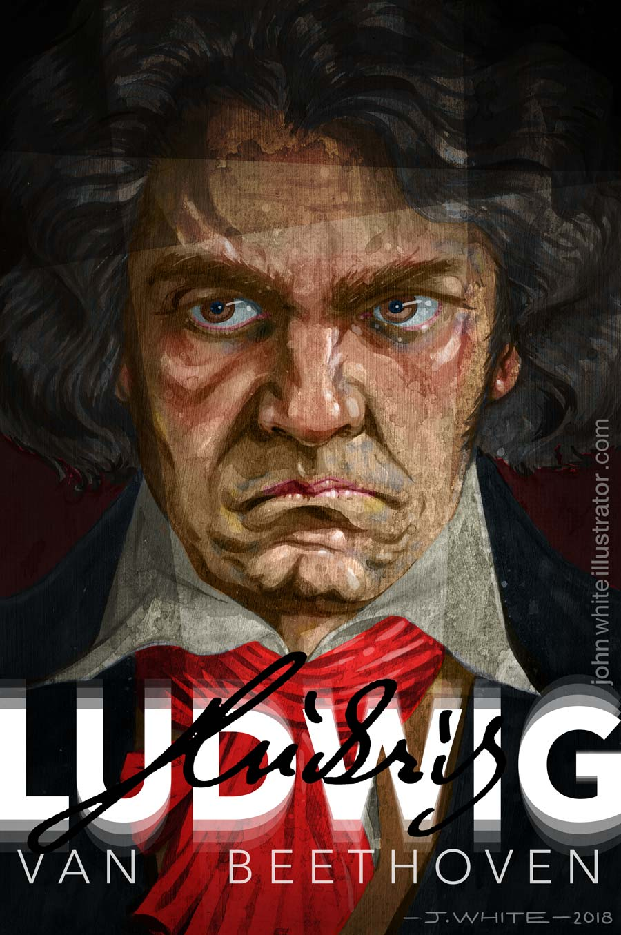 Colour painting of ludwig van beethoven