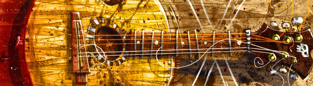detail of vintage guitar illustration