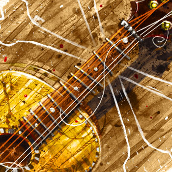 preview full colour vintage guitar illustration