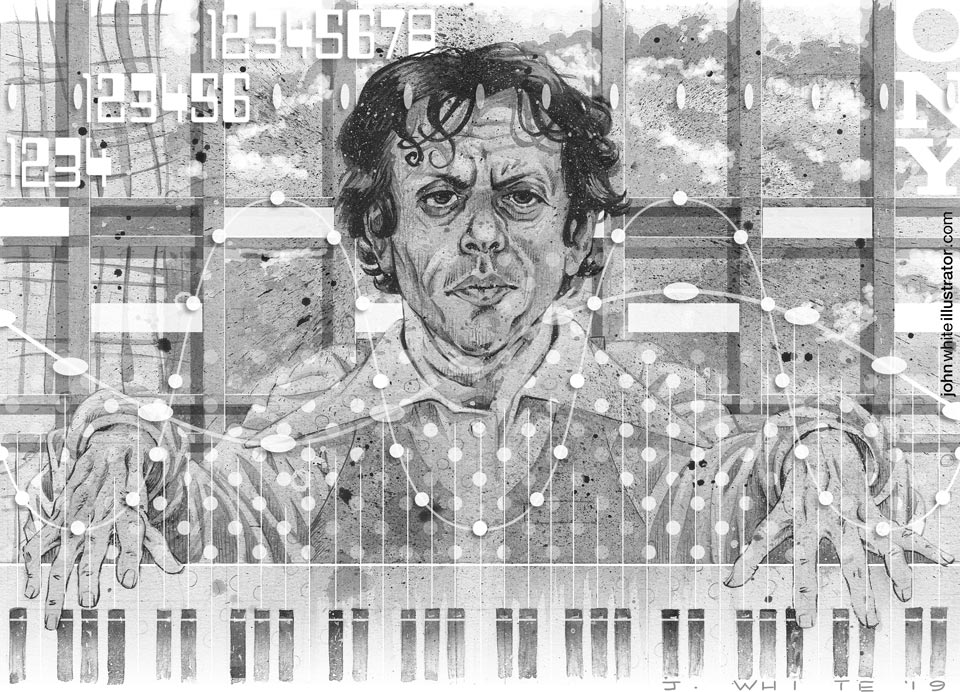 B&W portrait illustration of philip glass
