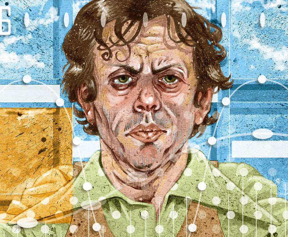 philip glass illustration close-up detail