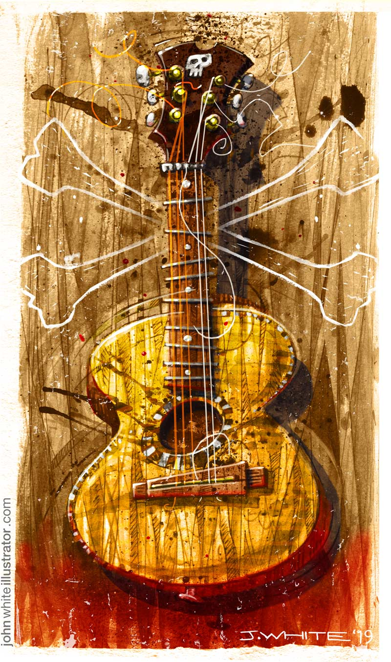full-colour old battered vintage guitar illustration blues pirate style