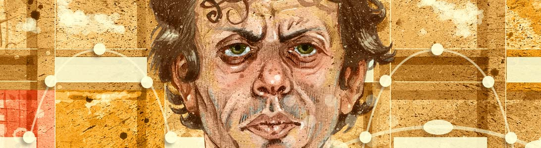 Preview of portrait illustration of philip glass