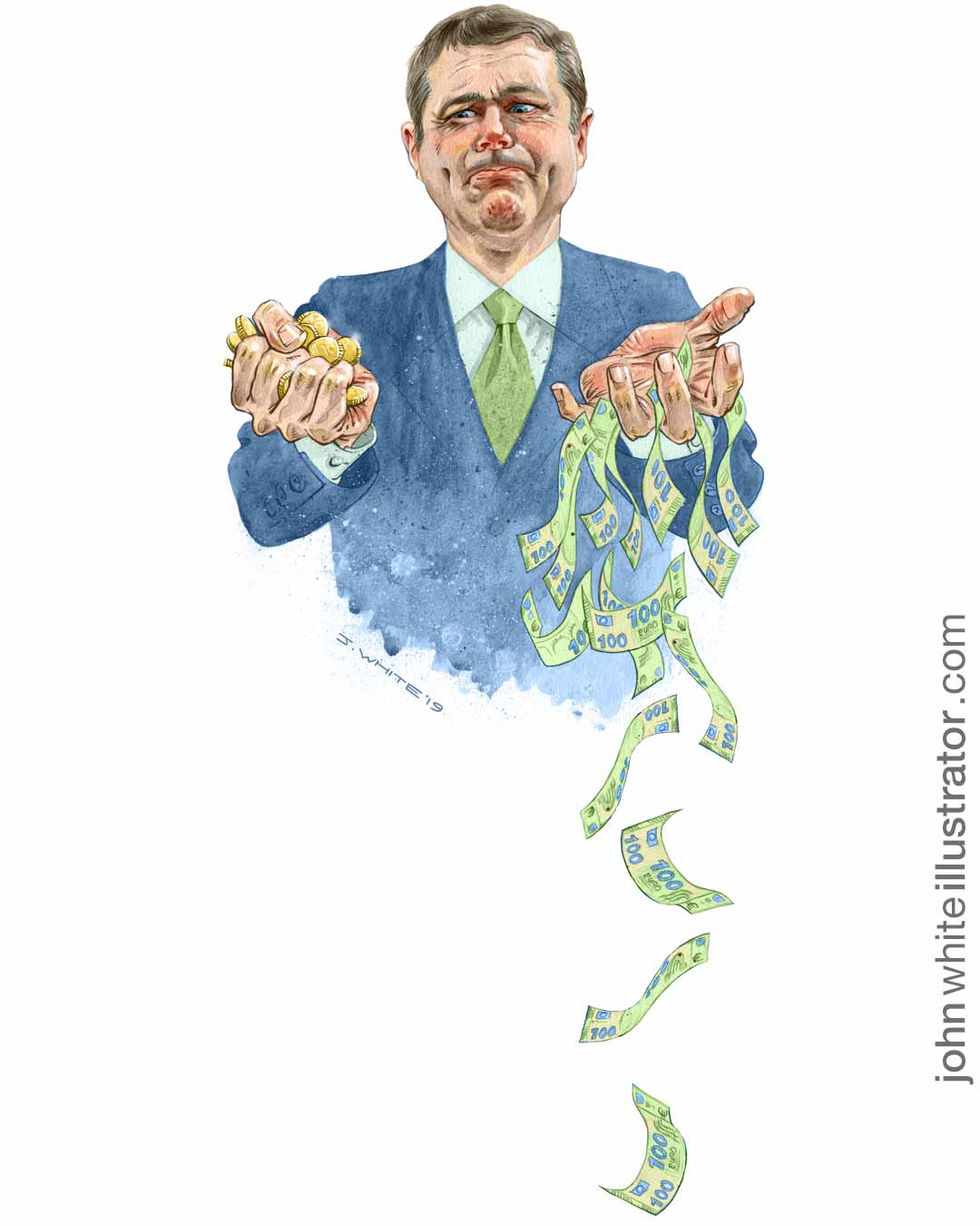 editorial illustration of fine gael minister paschal donhoe