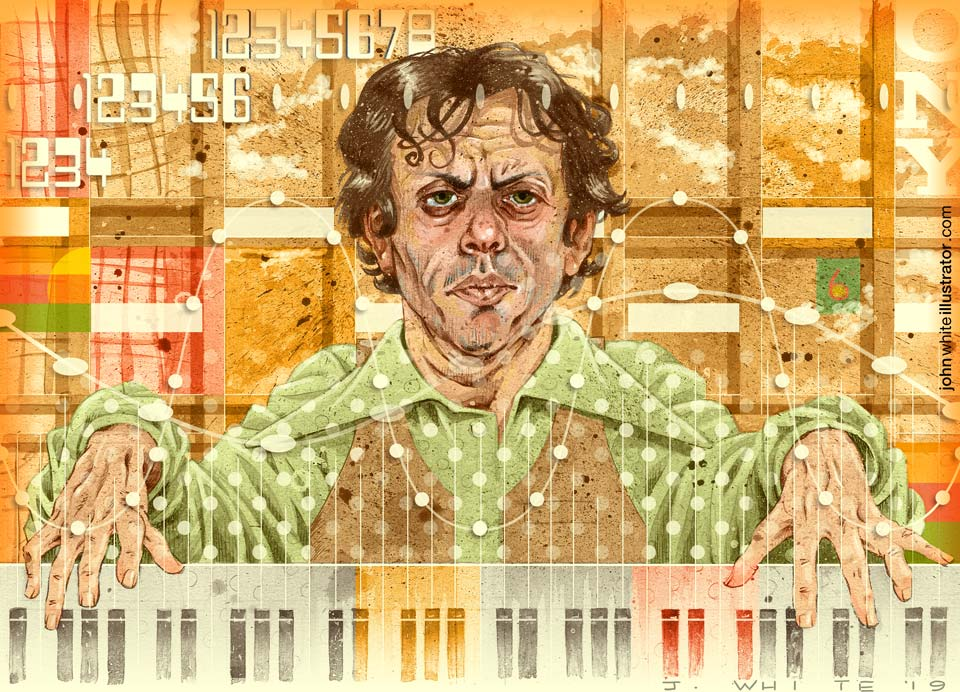 portrait illustration of philip glass 1970s setting