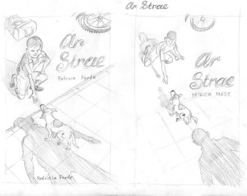 sketch for ar strae book cover illustration and design