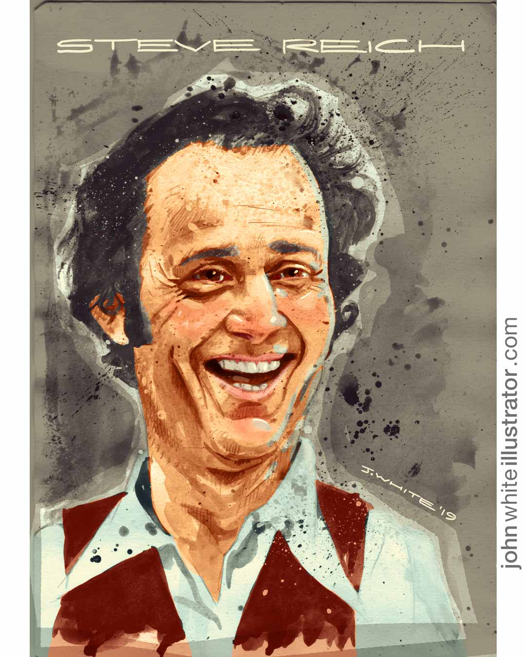 Illustration portrait art of composer musician Steve Reich