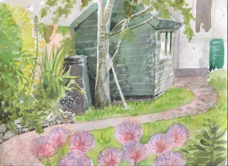 garden watercolour quick study
