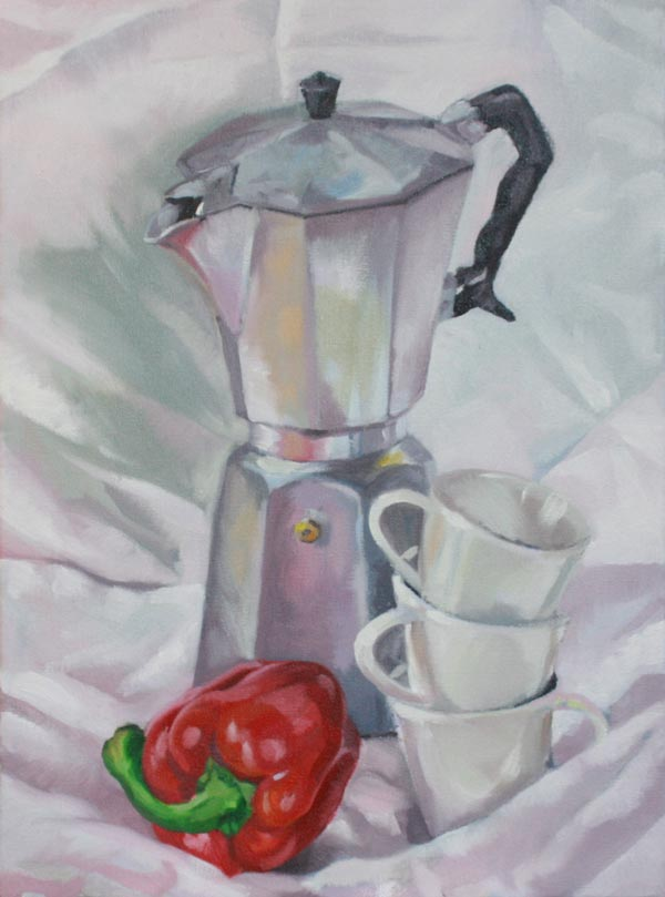 oils painted still life study coffee pot, cups & and red pepper