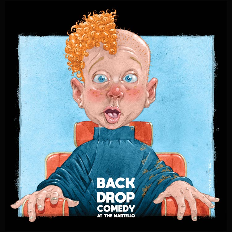 funny colour illustration of a shocked boy for backdrop comedy show martello hotel bray