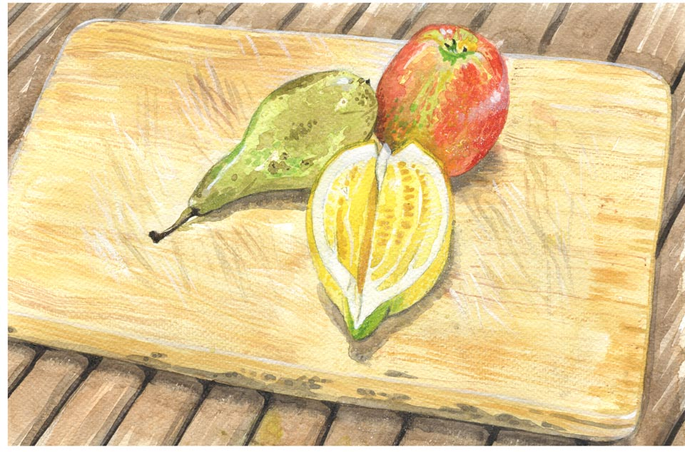 watercolour still life pear lemon and apple cutting board