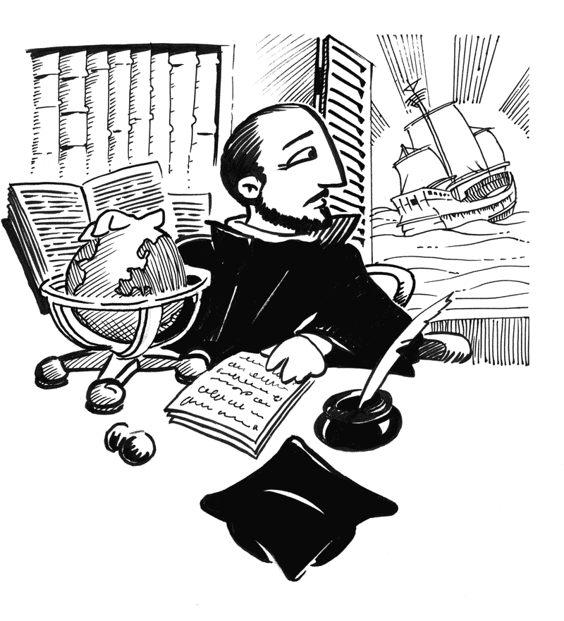 black line art illustration for a religious book about saint ignatius of loyola