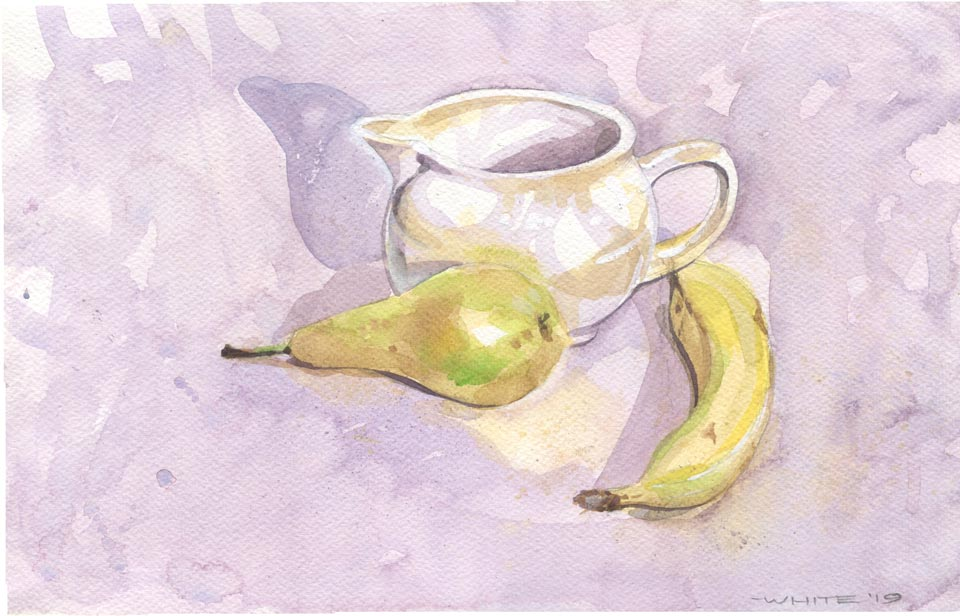 watercolour still life pear banana and white jug