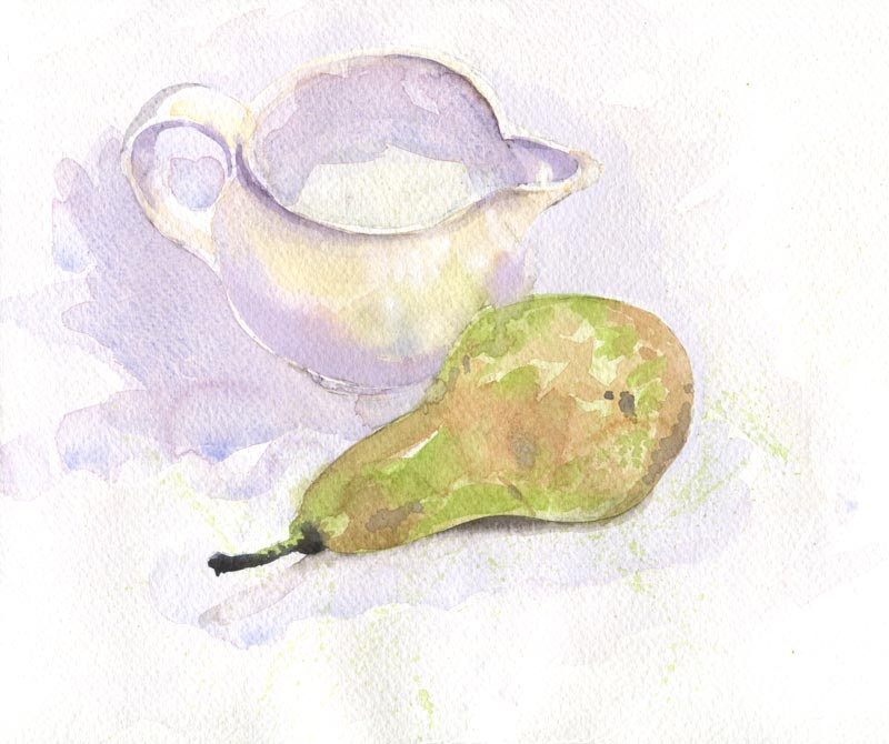 watercolour still life pear and white jug