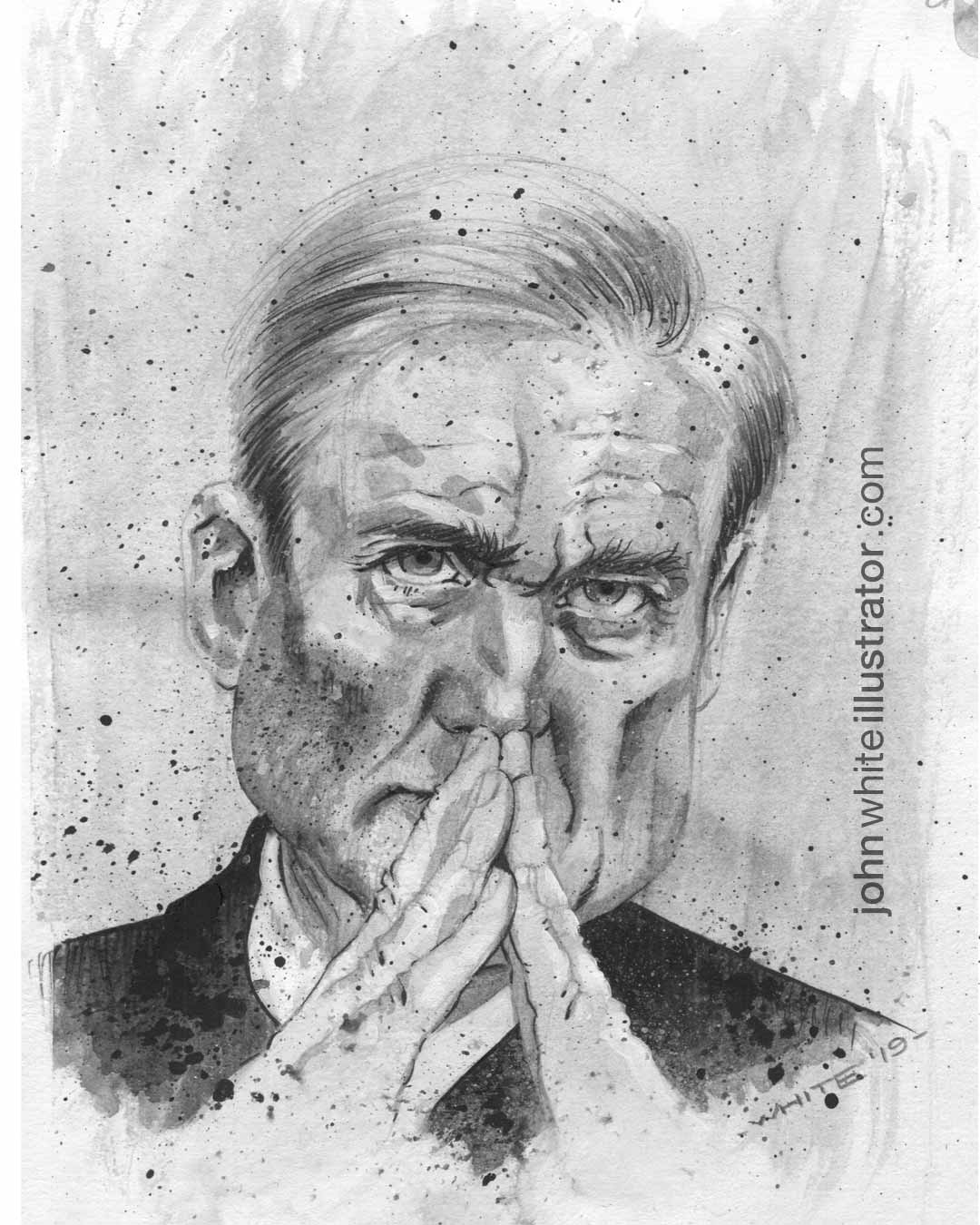 black and white editorial illustration of special council robert mueller