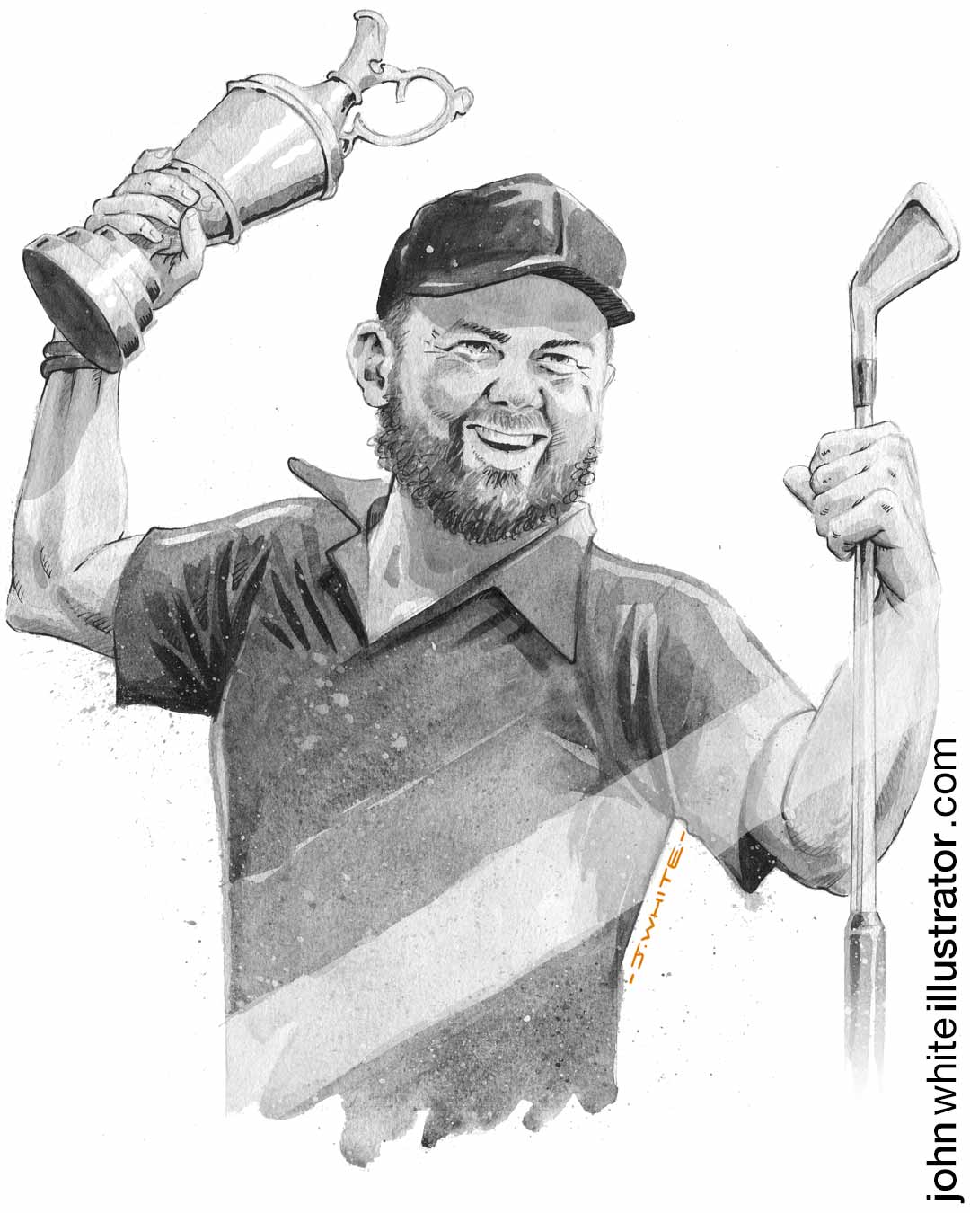 black and white editorial illustration of irish golfer shane lowry