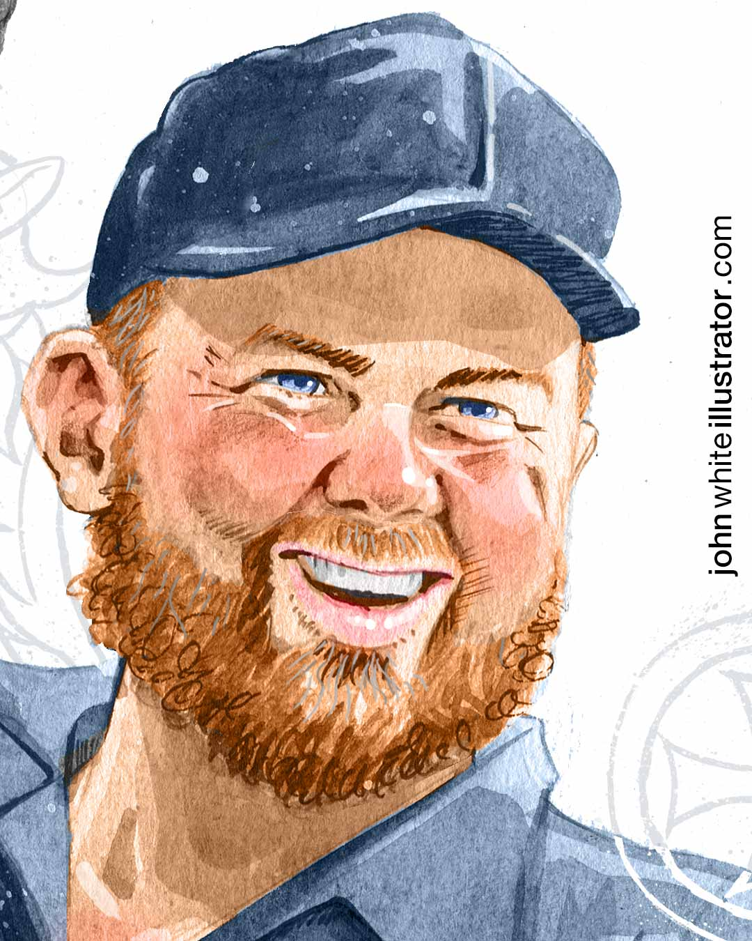 detail of editorial illustration of irish golfer shane lowry