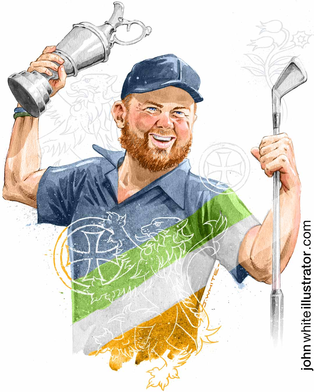 full colour editorial illustration of irish offaly tullamore golfer shane lowry
