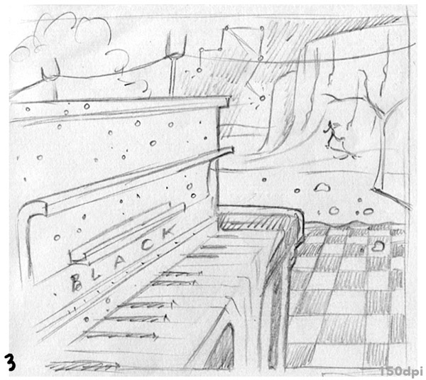 sketch for album cover art piano dali surrealism