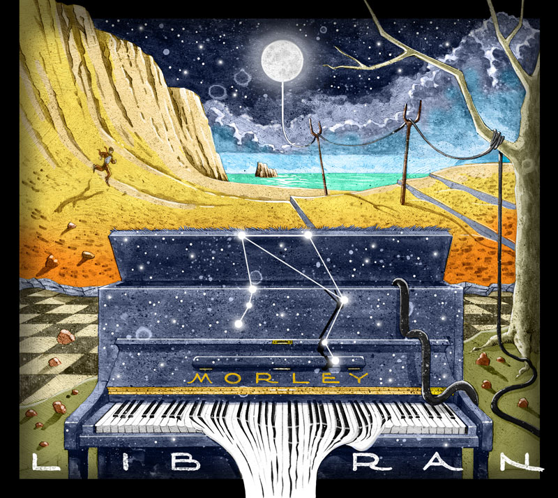 illustration art for ep album cd cover for solo piano music artist