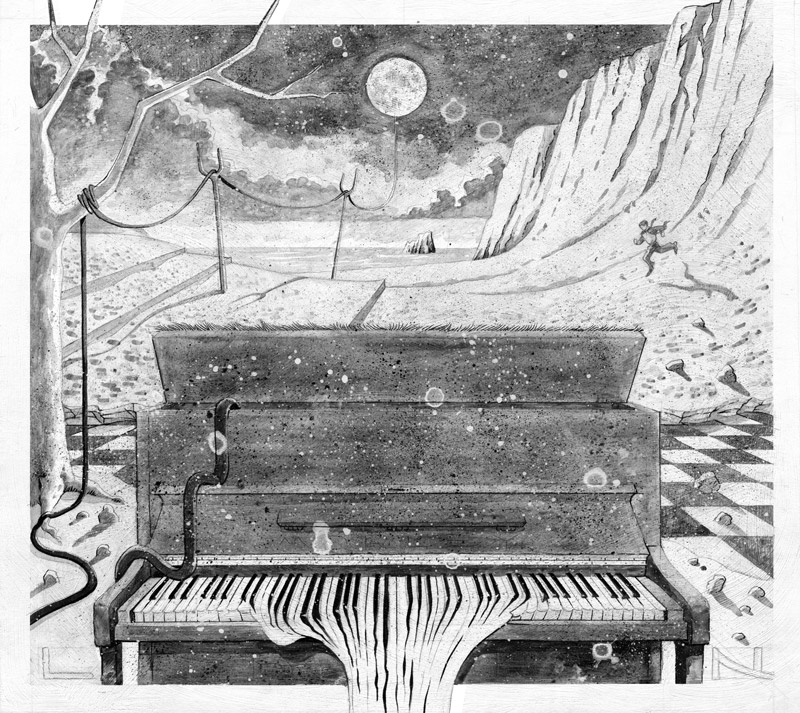 b&w illustration art for ep album cd cover for solo piano music artist