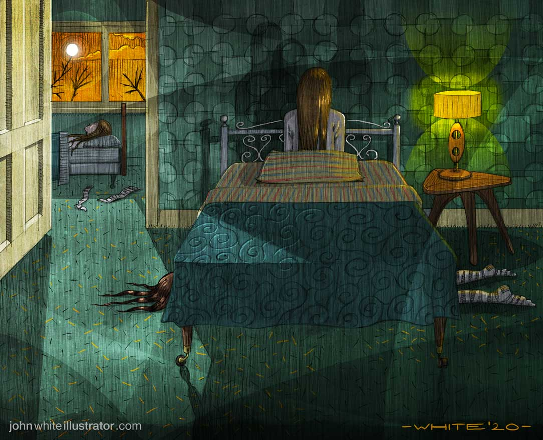illustration of a terrifying dream bedroom strange figures night